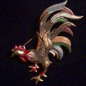 Brilliant copper rooster brooch Made in Spain
